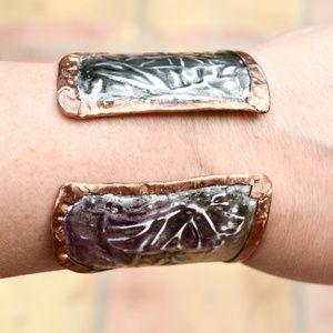 Floral Brutalist Cuff Bracelet Gladiator Copper